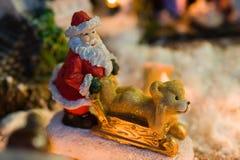 claus santa sled Fotografering för Bildbyråer