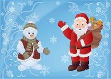 claus santa snowman Royaltyfri Fotografi