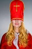 claus twarzy dziewczyny kapelusz jej Santa Obrazy Stock
