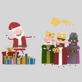 Claus versus Magic Three Kings . 3D Stock Photos
