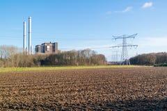 Clauscentrale kraftverk i Maasbracht, Nederländerna Royaltyfria Foton