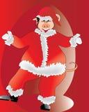 clauss猪圣诞老人 库存照片