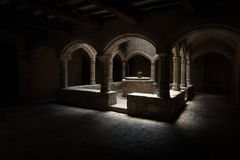 Claustro do monastério de Santes Creus fotografia de stock royalty free