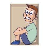 Claustrofobia, medo de espaços fechados Um homem amedrontado em uma caixa Ilustração do vetor, isolada no fundo branco ilustração do vetor