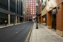 Claustrophobic modern street architecture in Boston North End. This image can be used as a background for urban themes royalty free stock photography