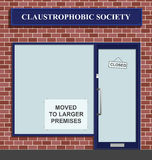 Claustrophobic Society. The Claustrophobic Society moves to larger premises Vector Illustration