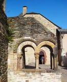 Claustros de la abadía Conques - Francia Imagen de archivo