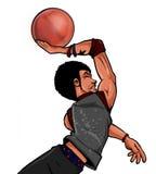 Clavada de Streetballer del baloncesto de la bola de la calle Imagen de archivo libre de regalías