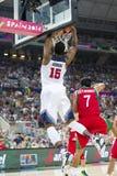 Clavada del golpe del baloncesto Imagen de archivo