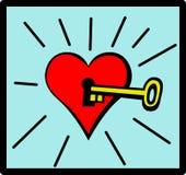 Clave al corazón Imagen de archivo libre de regalías