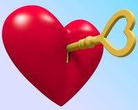 Clave al corazón Fotos de archivo libres de regalías