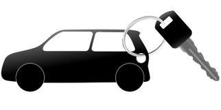 Clave auto del símbolo y del coche en un anillo brillante Imagenes de archivo