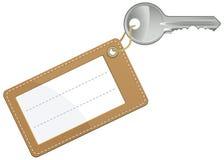 Clave con la escritura de la etiqueta en blanco del texto Foto de archivo
