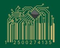 Clave de barras con la placa madre del ordenador Fotografía de archivo libre de regalías
