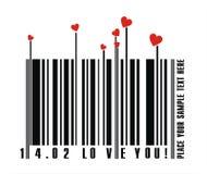 Clave de barras de las tarjetas del día de San Valentín Fotografía de archivo libre de regalías