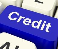 Clave de crédito que representa finanzas Foto de archivo libre de regalías