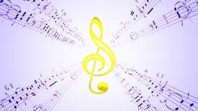 Clave de giro do violino & folhas de música azuis, laço ilustração royalty free