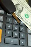 Clave de la calculadora, del momey y del coche Imagenes de archivo
