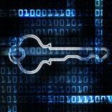 Clave de la seguridad y código binario Imágenes de archivo libres de regalías