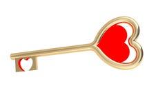 Clave de oro del amor Fotografía de archivo