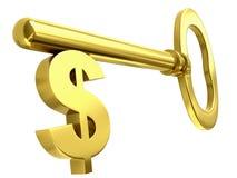 Clave de oro del dólar Fotografía de archivo libre de regalías