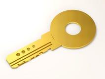 Clave de oro en el fondo blanco Fotos de archivo
