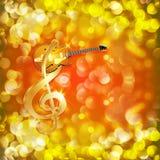 Clave de sol com guitarra do jazz em um fundo brilhante Imagens de Stock
