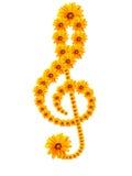 Clave de sol de las flores Foto de archivo libre de regalías