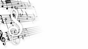 Clave de sol y bastones con las notas stock de ilustración