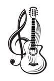 Clave de sol y guitarra Fotos de archivo libres de regalías