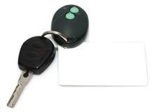 Clave del coche, mostrando una etiqueta en blanco para el texto de encargo Fotografía de archivo libre de regalías