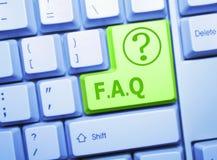 Clave del FAQ imagen de archivo