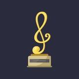 Clave del logro del triunfo del entretenimiento de las notas de la música del trofeo de la estrella del rock del oro la mejor y p ilustración del vector