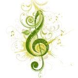Clave del violín. Diseño floral. Foto de archivo libre de regalías