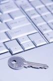 Clave en el teclado de la computadora portátil Imágenes de archivo libres de regalías