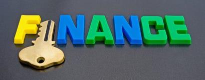 Clave a financiar: ¿insignia? Imágenes de archivo libres de regalías