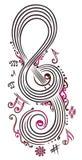 Clave grande con las notas de la música ilustración del vector