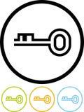 Clave - icono del vector aislado en blanco Fotos de archivo libres de regalías