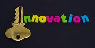 Clave a la innovación: ¿insignia? Imagen de archivo libre de regalías