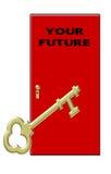 Clave a su futuro - clave del oro y puerta roja Foto de archivo