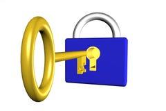 Clave y bloqueo Fotografía de archivo libre de regalías