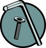 Clave y tornillo de maleficio ilustración del vector