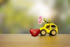 claveles hermosos y coloridos de la flor en coche de madera Fotos de archivo