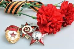 Claveles rojos atados con la cinta de San Jorge y órdenes de la gran guerra patriótica Imagen de archivo libre de regalías