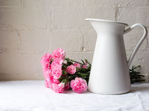 Claveles rosados detrás del jarro blanco Imagen de archivo libre de regalías