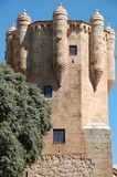 Clavero tower. This tower is part of the palace of Sotomayor. It was built in the 15th century. It has a square base that turns into an octagon as it goes up. It stock photography