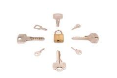 Claves alrededor del pestillo de seguridad Fotografía de archivo