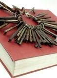 Claves antiguos en un libro rojo Fotografía de archivo libre de regalías
