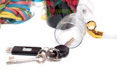Claves caidos del vidrio y del coche Fotos de archivo