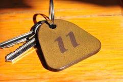 Claves con la etiqueta del número 11 Imágenes de archivo libres de regalías